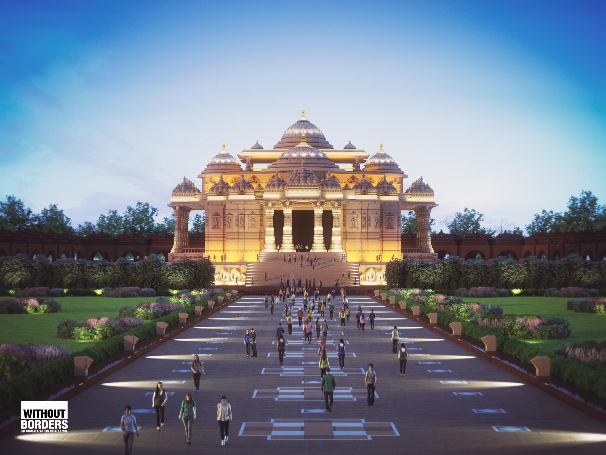 Akshardham Temple, New Delhi, India 3d art