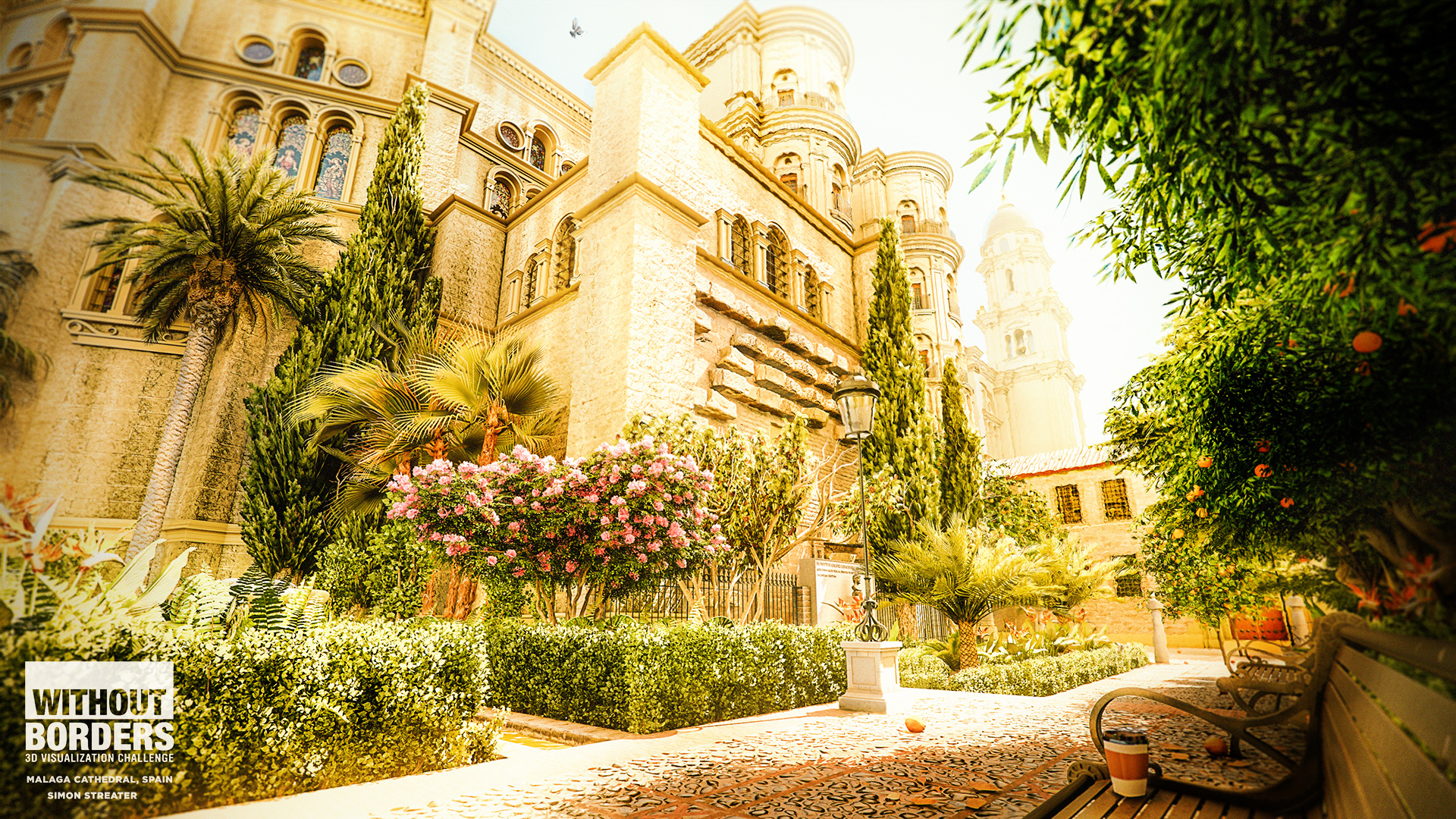 Malaga Cathedral Gardens, Andalucia, Spain 3d art
