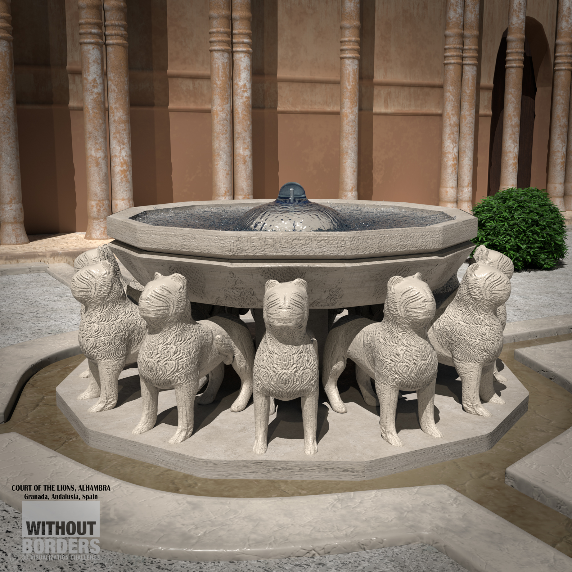 The court of Lions, Alhambra 3d art