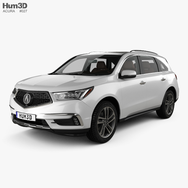 3D model of Acura MDX Sport Hybrid with HQ interior 2017