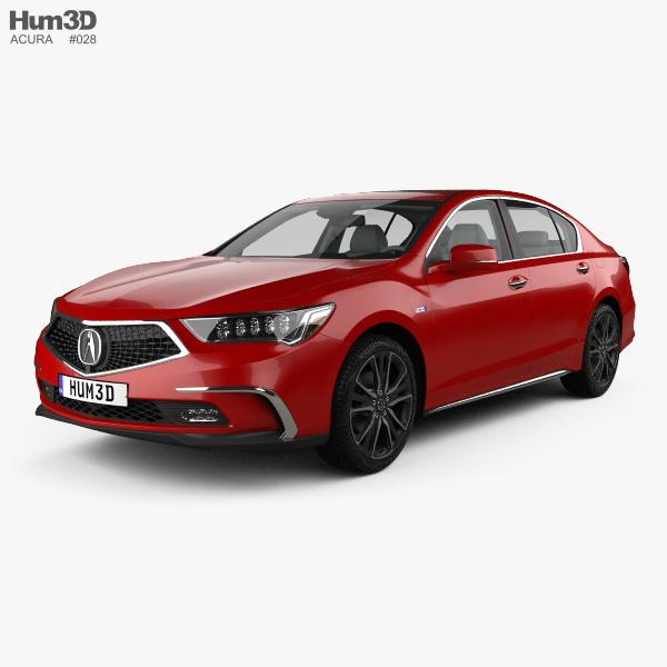 Acura RLX Sport Hybrid SH-AWD with HQ interior 2017 3D model