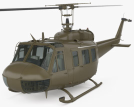 3D model of Bell UH-1 Iroquois with HQ interior