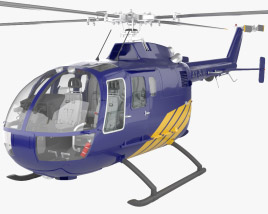 3D model of MBB BO 105 with HQ interior