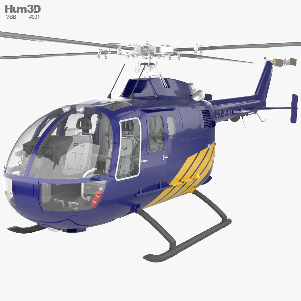 MBB BO 105 with HQ interior 3D model