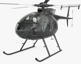 3D model of MD Helicopters MD 500 with Cockpit HQ interior