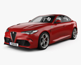 3D model of Alfa Romeo Giulia Quadrifoglio with HQ interior 2016