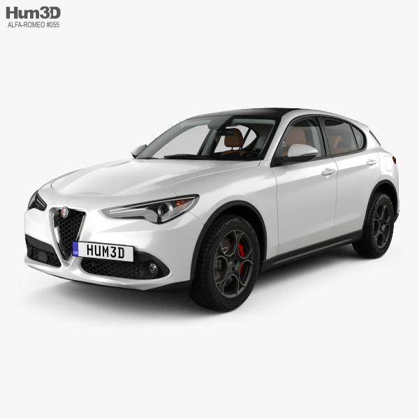 Alfa Romeo Stelvio Q4 with HQ interior 2017 3D model
