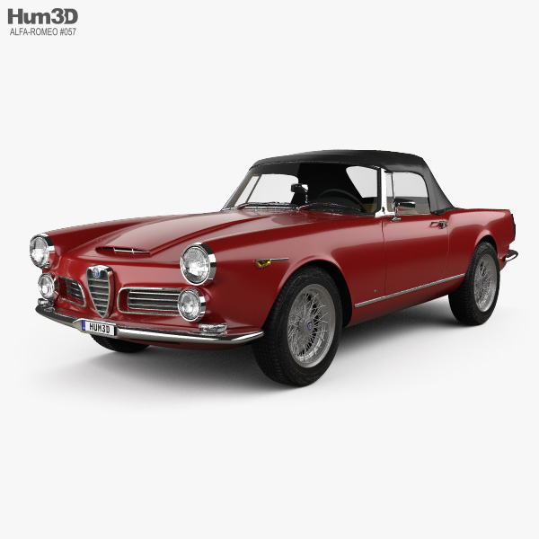 3D model of Alfa Romeo 2600 spider touring with HQ interior 1962