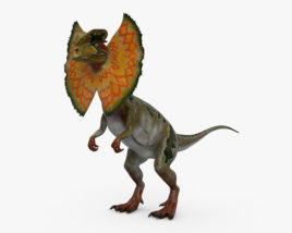 3D model of Dilophosaurus with Neck Frill HD