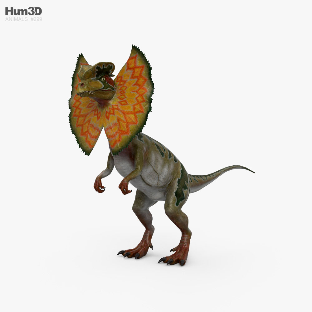 Dilophosaurus with Neck Frill HD 3D model