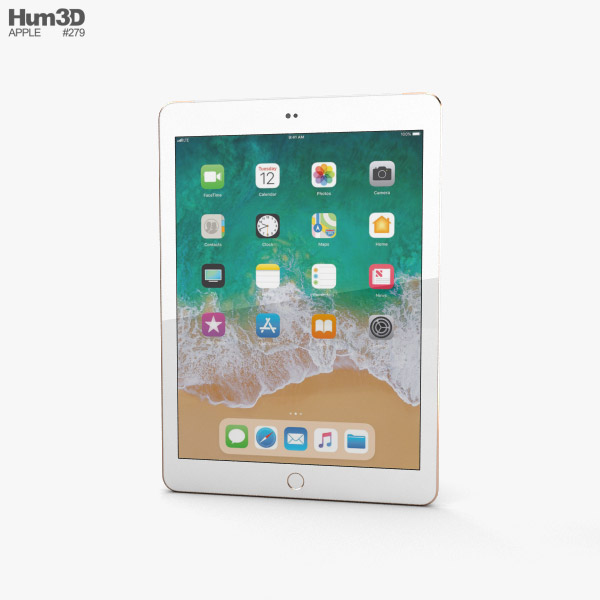Apple iPad 9.7-inch (2018) Cellular Gold 3D model
