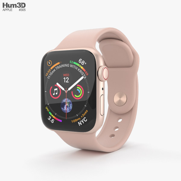 Apple Watch Series 4 40mm Gold Aluminum Case with Pink Sand Sport Band 3D model
