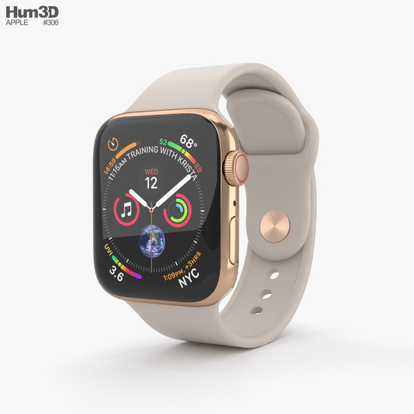 Apple Watch Series 4 40mm Gold Stainless Steel Case with Stone Sport Band 3D model