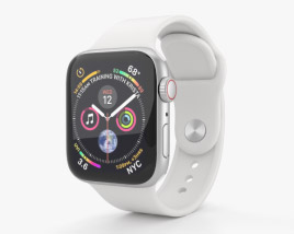 3D model of Apple Watch Series 4 40mm Silver Aluminum Case with White Sport Band