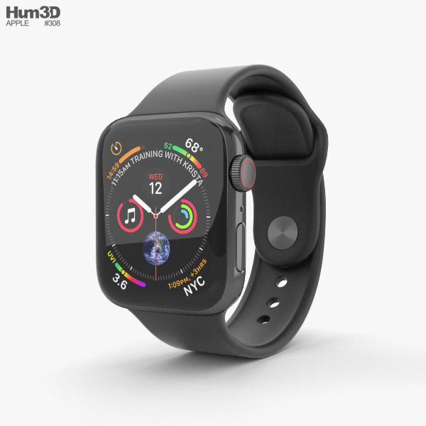 Apple Watch Series 4 40mm Space Black Stainless Steel Case with Black Sport Band 3D model