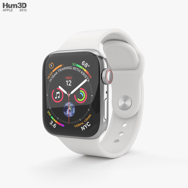 Apple Watch Series 4 40mm Stainless Steel Case with White Sport Band 3D model