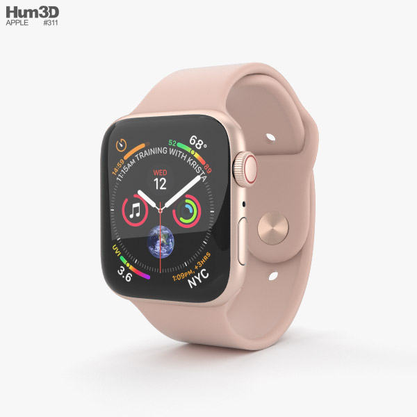 Apple Watch Series 4 44mm Gold Aluminum Case with Pink Sand Sport Band 3D model