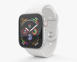 3D model of Apple Watch Series 4 44mm Silver Aluminum Case with White Sport Band