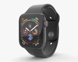 Apple Watch Series 4 44mm Space Black Stainless Steel Case with Black Sport Band 3D model