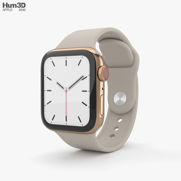 Apple Watch Series 5 40mm Gold Stainless Steel Case with Sport Band 3D model
