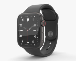 3D model of Apple Watch Series 5 40mm Space Black Titanium Case with Sport Band