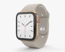 3D model of Apple Watch Series 5 44mm Gold Stainless Steel Case with Sport Band
