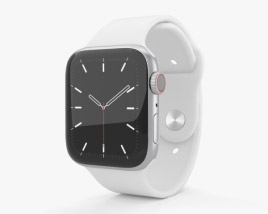 Apple Watch Series 5 44mm Silver Aluminum Case with Sport Band 3D model