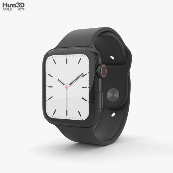 Apple Watch Series 5 44mm Space Black Stainless Steel Case with Sport Band 3D model