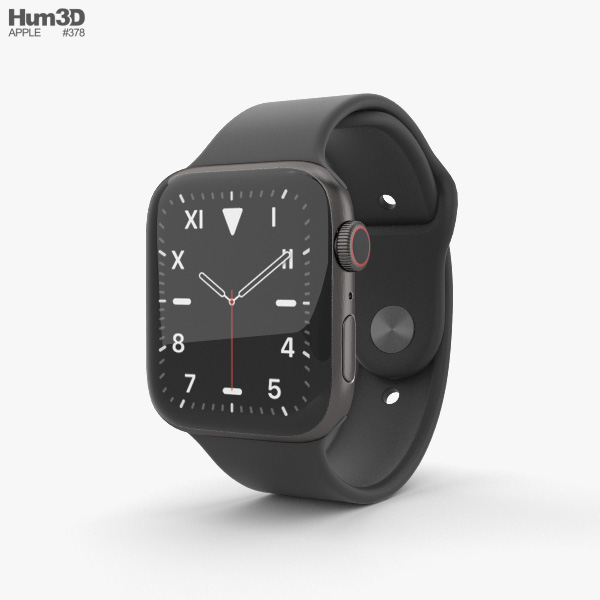 Apple Watch Series 5 44mm Space Black Titanium Case with Sport Band 3D model