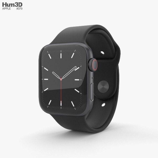 Apple Watch Series 5 44mm Space Gray Aluminum Case with Sport Band 3D model