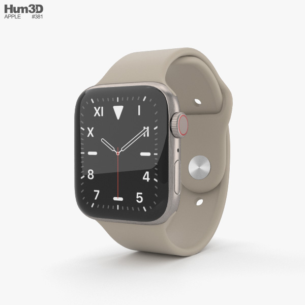 Apple Watch Series 5 44mm Titanium Case with Sport Band 3D model