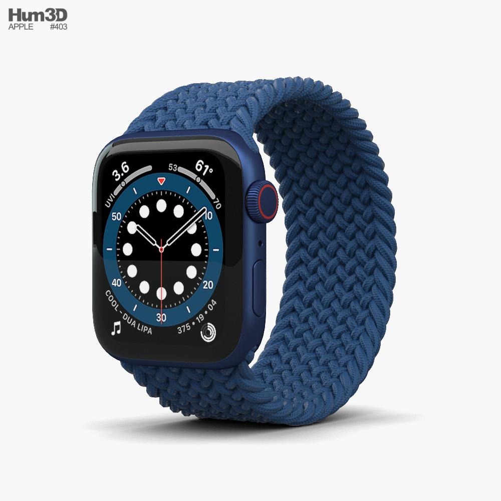 Apple Watch Series 6 44mm Aluminum Blue 3D model