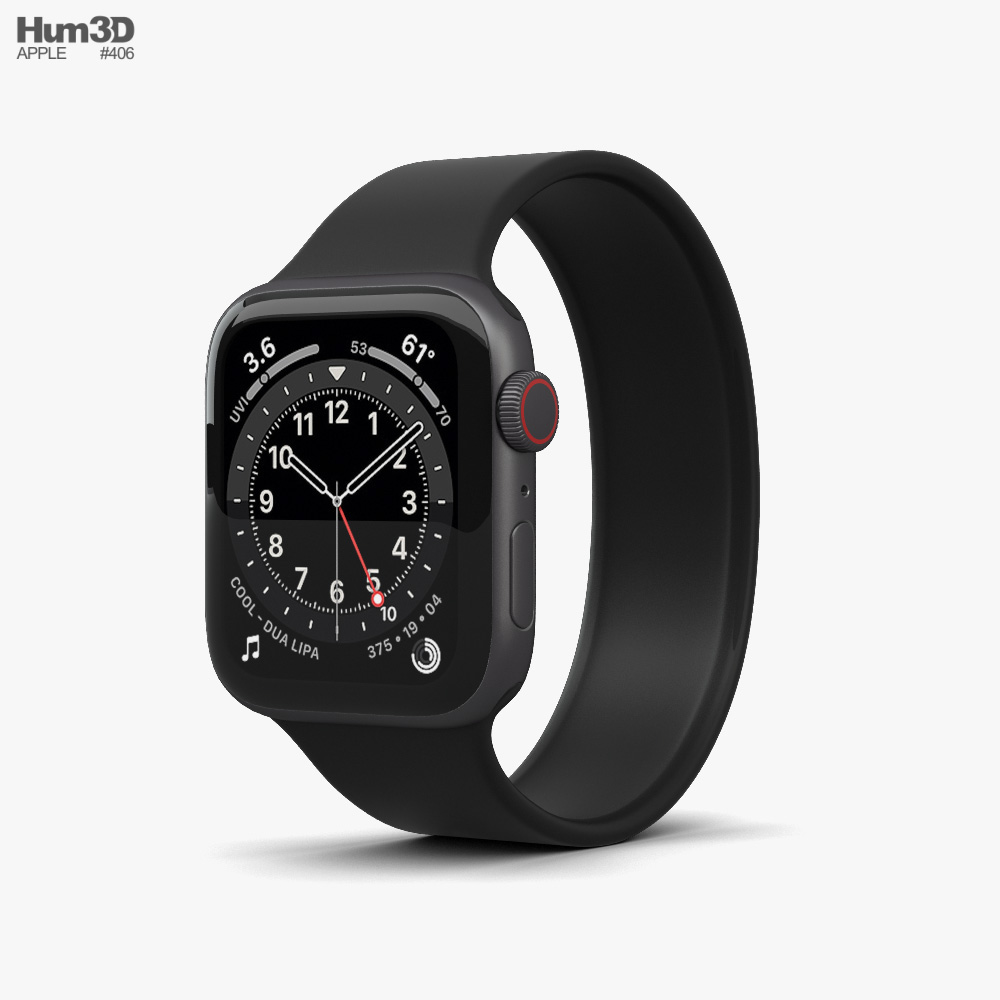 Apple Watch Series 6 44mm Aluminum Space Gray 3D model