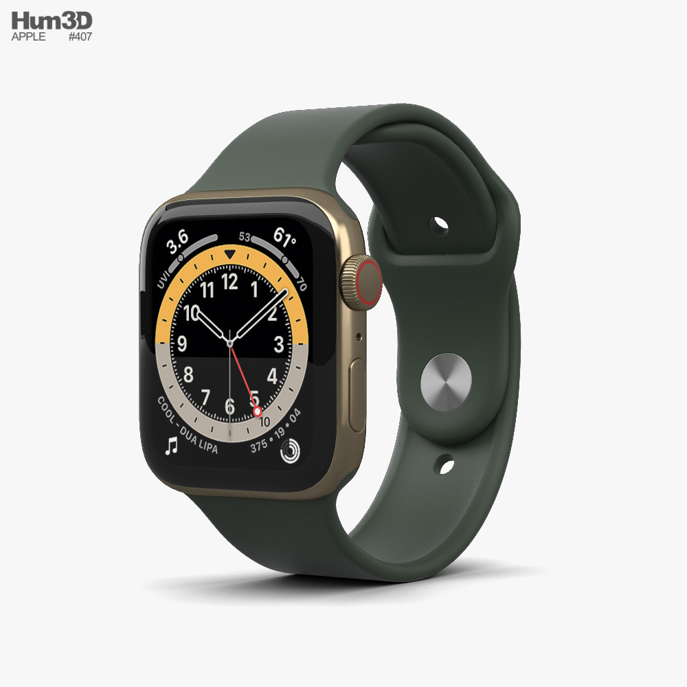 Apple Watch Series 6 44mm Stainless Steel Gold 3D model