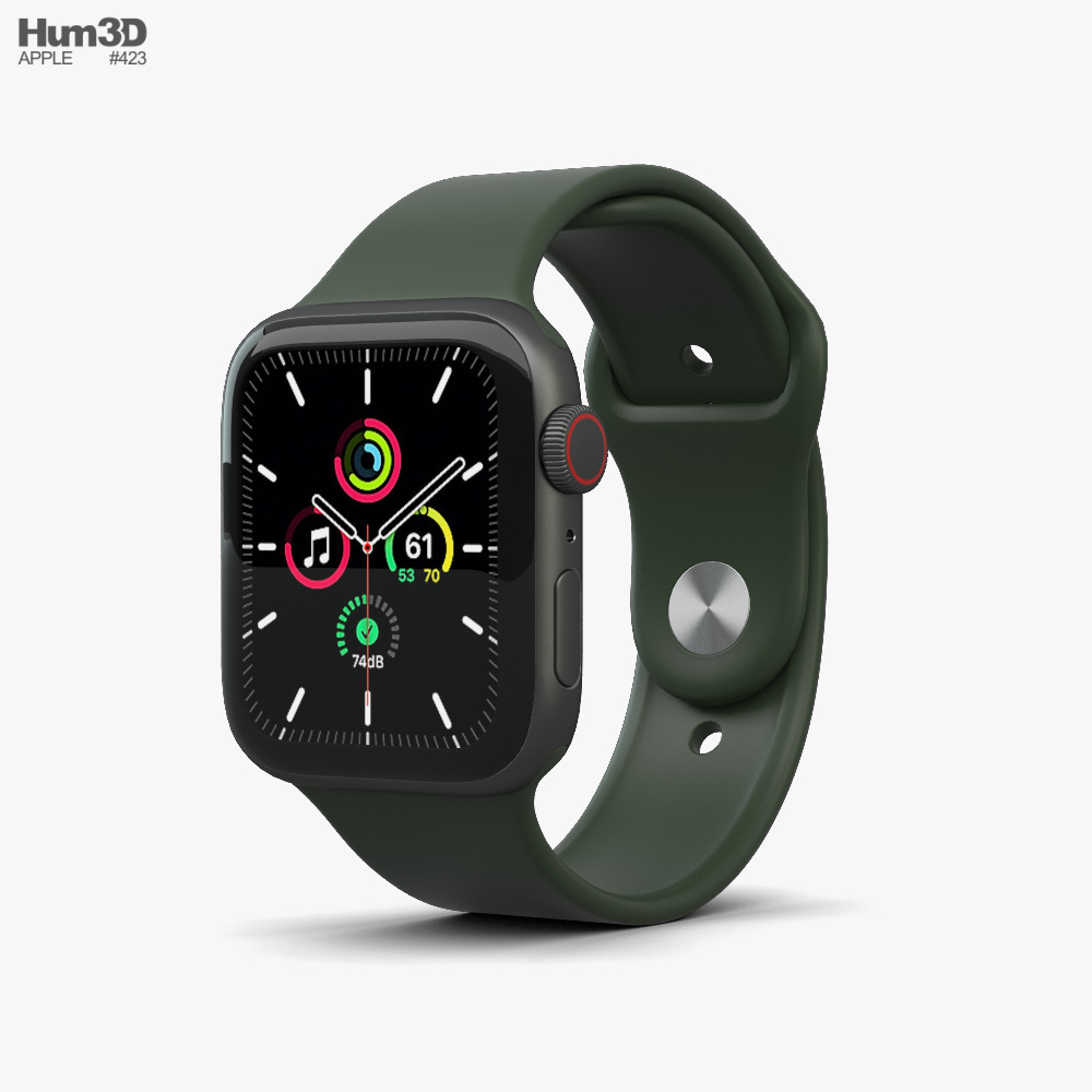 Apple Watch SE 44mm Aluminum Space Gray 3D model