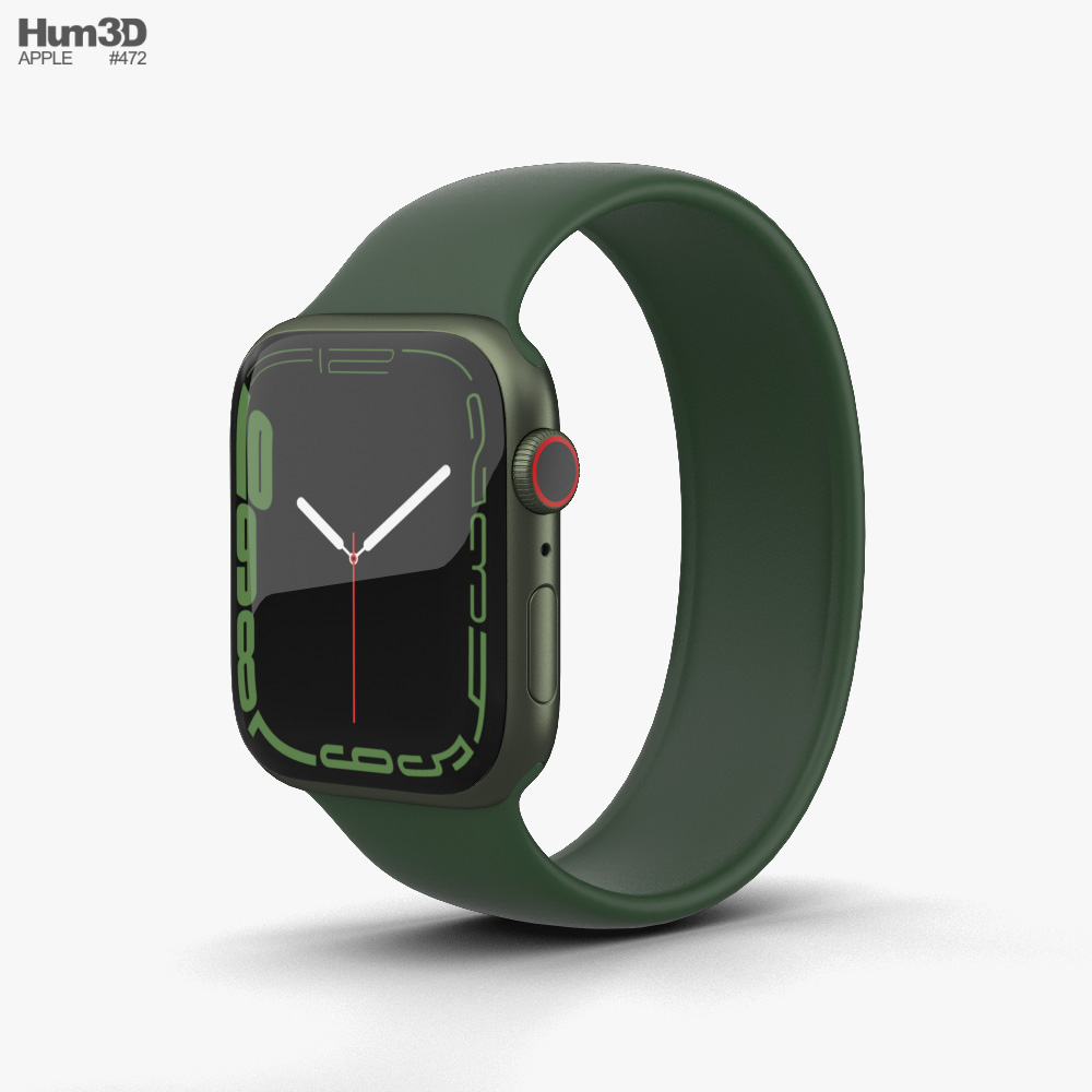 Apple Watch Series 7 45mm Green Aluminum Case with Solo Loop Modelo 3D