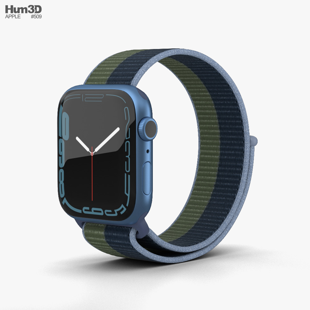 Apple Watch Series 7 41mm Blue Aluminum Case with Sport Loop Modelo 3D