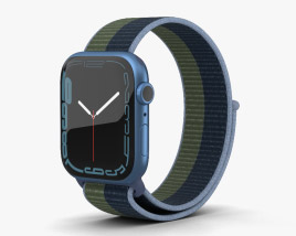 Apple Watch Series 7 45mm Blue Aluminum Case with Sport Loop 3D模型