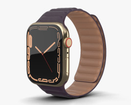 Apple Watch Series 7 45mm Gold Stainless Steel Case with Leather Link 3D模型