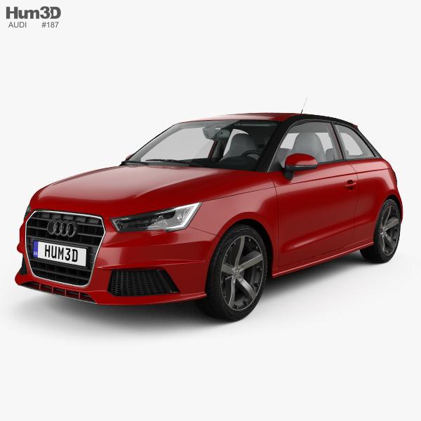 3D model of Audi A1 3-door with HQ interior 2015