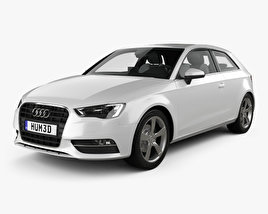 3D model of Audi A3 hatchback 3-door with HQ interior 2013