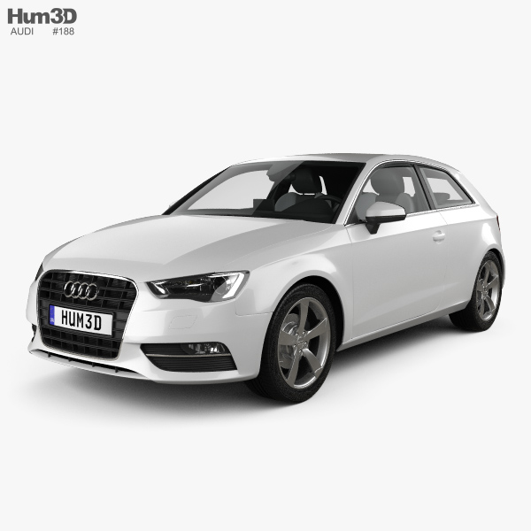 Audi A3 hatchback 3-door with HQ interior 2013 3D model