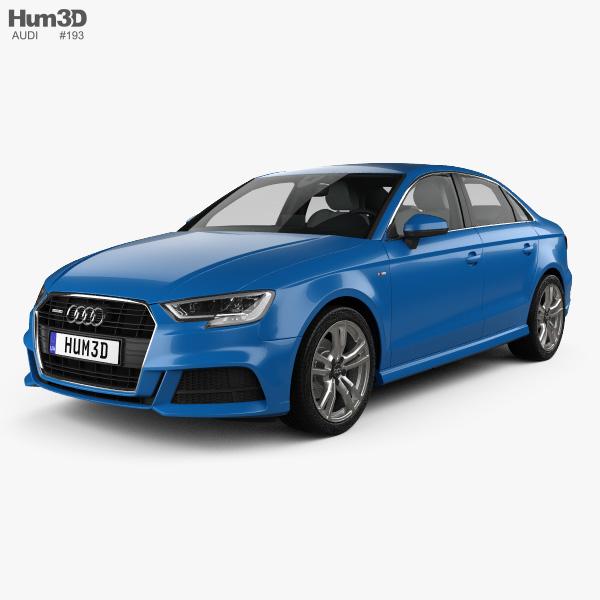 Audi A3 S-line sedan with HQ interior 2016 3D model