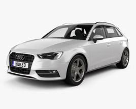 3D model of Audi A3 Sportback with HQ interior 2013