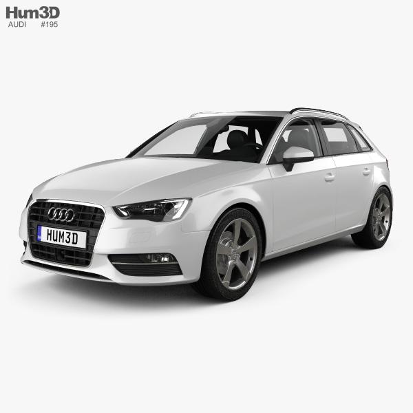Audi A3 Sportback with HQ interior 2013 3D model