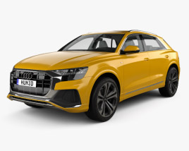 3D model of Audi Q8 S-line with HQ interior and engine 2018
