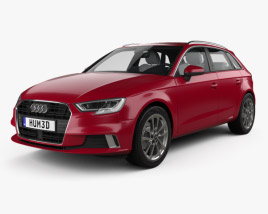 3D model of Audi A3 sportback with HQ interior 2016