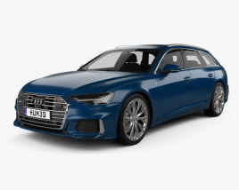 3D model of Audi A6 S-Line avant with HQ interior 2018