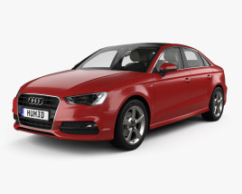 3D model of Audi A3 S-line Worldwide sedan with HQ interior 2013