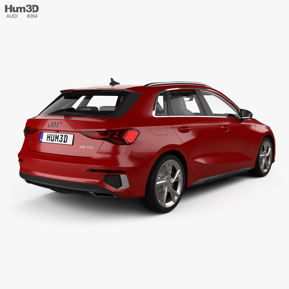 Audi A3 S-line sportback with HQ interior 2020 3d model